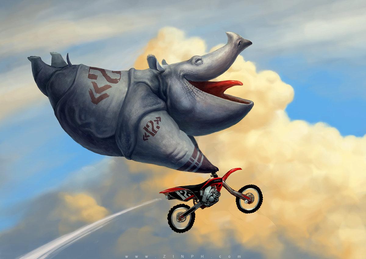 Прикольные рисунки с мотоциклами